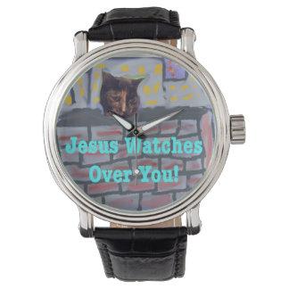 Christliche Katzen-Uhr Hoffnungs-heilende Uhr