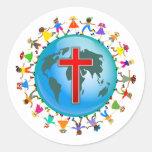 Christliche Kinder Runder Aufkleber