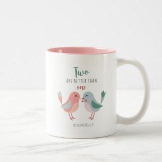 Christliche Liebe-Vögel zwei sind besser als eine Zweifarbige Tasse