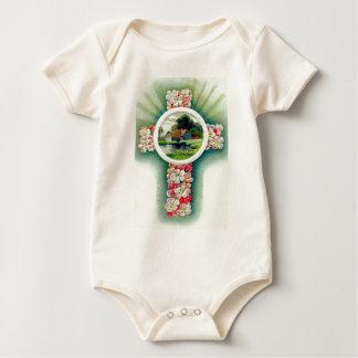 Christliche Quervergissmeinnicht-Blumen Baby Strampler