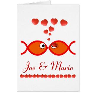 Christliche Valentine-Symbole - orange v1 Karte