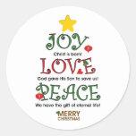 Christliche Weihnachtsfreude-Liebe und Frieden Stickers