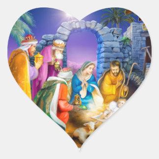 Christliche Weihnachtskarte Herz-Aufkleber