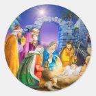 Christliche Weihnachtskarte Runder Aufkleber