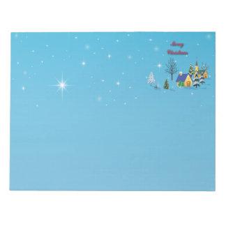 Christliche Weihnachtskirchen-Nachthimmel-Sterne Notizblock