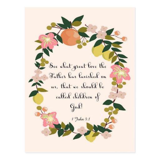 Christliche Zitat-Kunst - 1 John-3:1 Postkarten