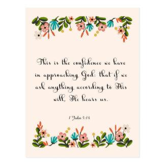 Christliche Zitat-Kunst - 1 John-5:14 Postkarte