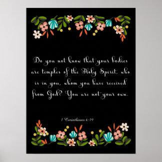 Christliche Zitat-Kunst - 1 Korinther-6:19 Poster
