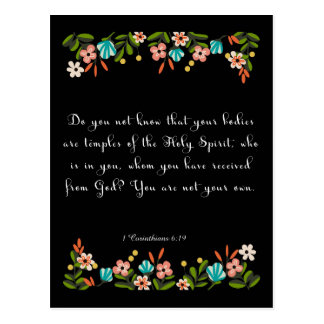 Christliche Zitat-Kunst - 1 Korinther-6:19 Postkarten