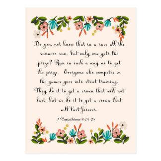 Christliche Zitat-Kunst - 1 Korinther-9:24 - 25 Postkarten