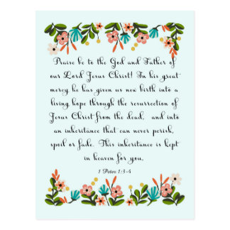 Christliche Zitat-Kunst - 1 Peter-1:3 - 4 Postkarte
