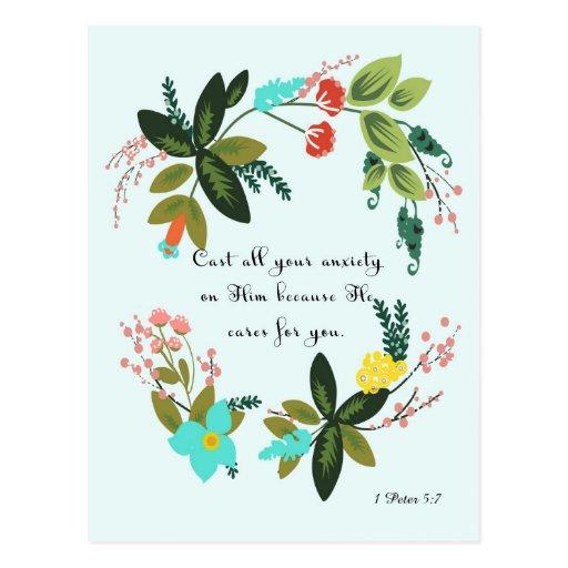 Christliche Zitat-Kunst - 1 Peter-5:7 Postkarten