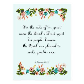 Christliche Zitat-Kunst - 1 Samuel-12:22 Postkarte