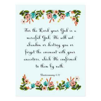 Christliche Zitat-Kunst - Deuteronomy 4:31 Postkarte