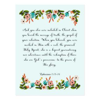 Christliche Zitat-Kunst - Ephesians 1:13 - 14 Postkarte