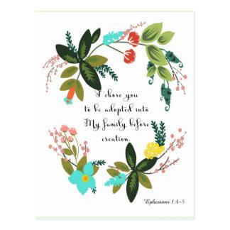 Christliche Zitat-Kunst - Ephesians 1:4 - 5 Postkarten