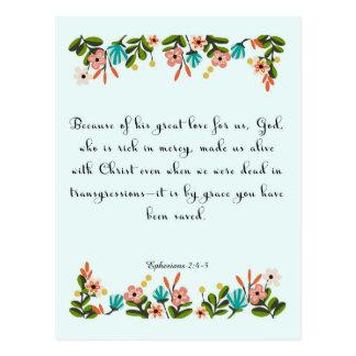 Christliche Zitat-Kunst - Ephesians 2:4 - 5 Postkarte
