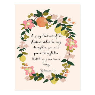 Christliche Zitat-Kunst - Ephesians 3:16 Postkarten