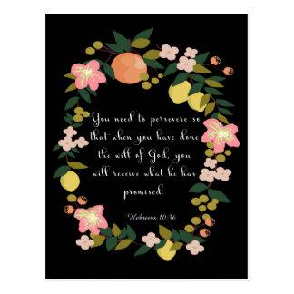 Christliche Zitat-Kunst - Hebräer-10:36 Postkarte