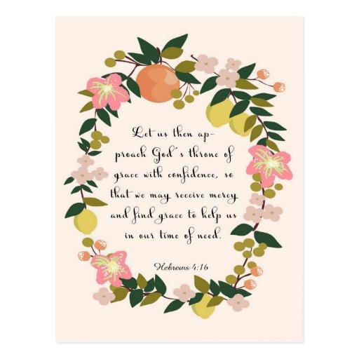 Christliche Zitat-Kunst - hebräisches 4:16 Postkarten