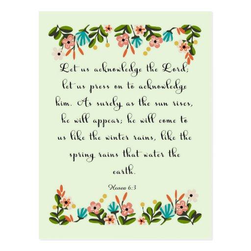 Christliche Zitat-Kunst - Hosea 6:3 Postkarte