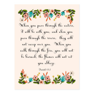 Christliche Zitat-Kunst - Jesaja-43:2 Postkarte