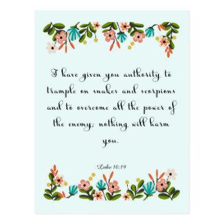 Christliche Zitat-Kunst - Luke-10:19 Postkarte