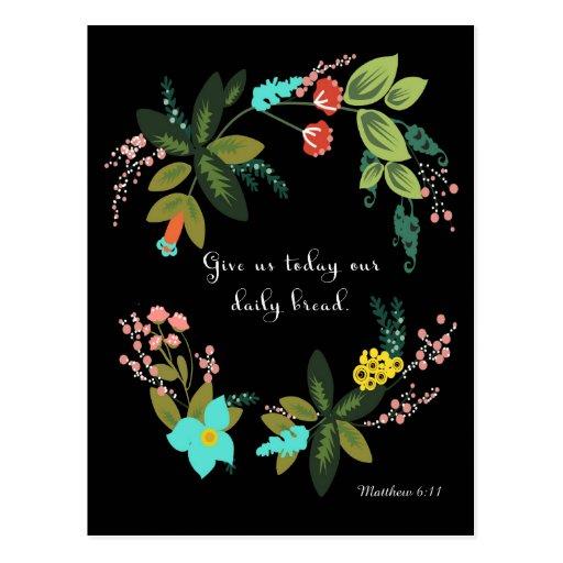 Christliche Zitat-Kunst - Matthew-6:11 Postkarte