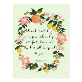 Christliche Zitat-Kunst - Matthew-7:7 Postkarten