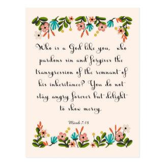 Christliche Zitat-Kunst - Micah 7:18 Postkarten