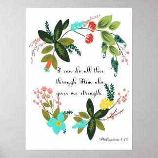 Christliche Zitat-Kunst - Philippians-4:13 Poster