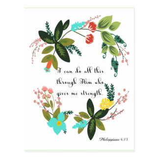 Christliche Zitat-Kunst - Philippians-4:13 Postkarte