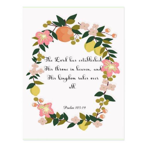 Christliche Zitat-Kunst - Psalm-103:19 Postkarten