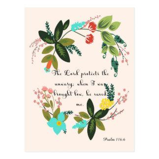Christliche Zitat-Kunst - Psalm-116:6 Postkarte
