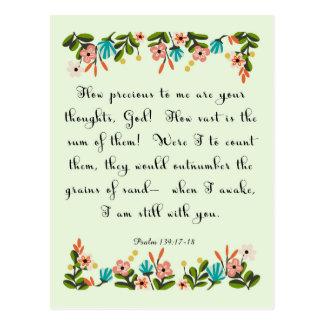 Christliche Zitat-Kunst - Psalm-139:17 - 18 Postkarte