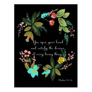 Christliche Zitat-Kunst - Psalm-145:16 Postkarte