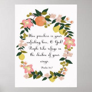 Christliche Zitat-Kunst - Psalm-36:7 Poster