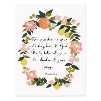 Christliche Zitat-Kunst - Psalm-36:7 Postkarte