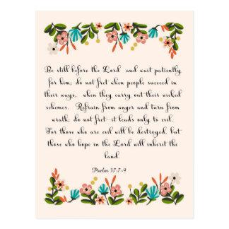 Christliche Zitat-Kunst - Psalm-37:7 - 9 Postkarte