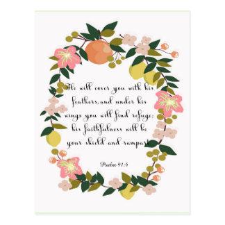 Christliche Zitat-Kunst - Psalm-91:4 Postkarten