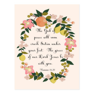 Christliche Zitat-Kunst - Römer-16:20 Postkarte