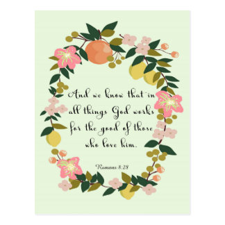 Christliche Zitat-Kunst - Römer-8:28 Postkarte