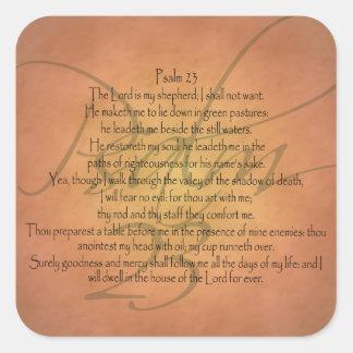 Christlicher Bibel-Vers des Psalm-23 KJV Quadratischer Aufkleber