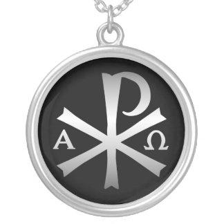 Christlicher IkoneLabarum mit Alpha und Omega Versilberte Kette