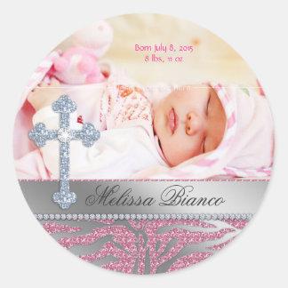 Christlicher Taufe-Kreuz-Baby-MädchenZebra Runder Aufkleber
