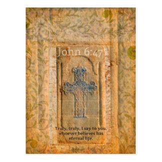 Christliches biblisches Zitat-Renaissance-Kreuz Postkarte