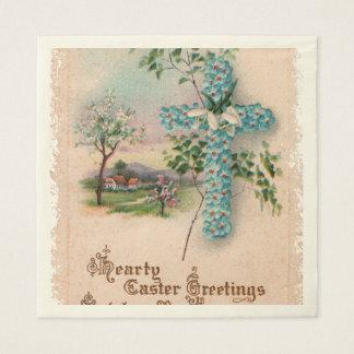 Christliches blaues Blumen-Kreuz Serviette