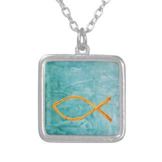 Christliches Fisch-Gold auf Blau/Grün Halskette Mit Quadratischem Anhänger