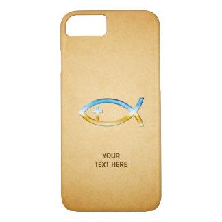 Christliches Fisch-Symbol auf Vintagem papirus iPhone 8/7 Hülle