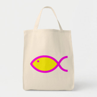 Christliches Fisch-Symbol - Gelb mit Rosa Einkaufstasche